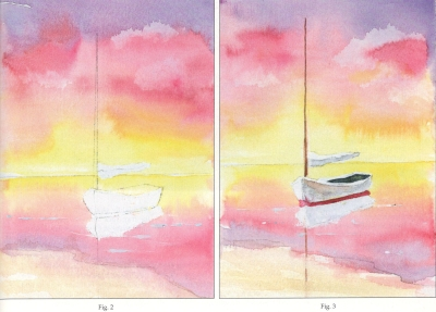 Sailboat Watercolor Card Fig. 1 and Fig. 2