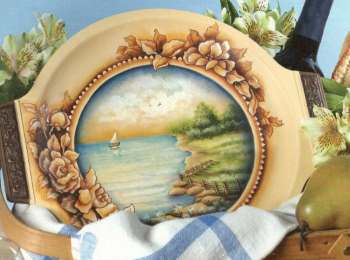 The summer lake plate painting